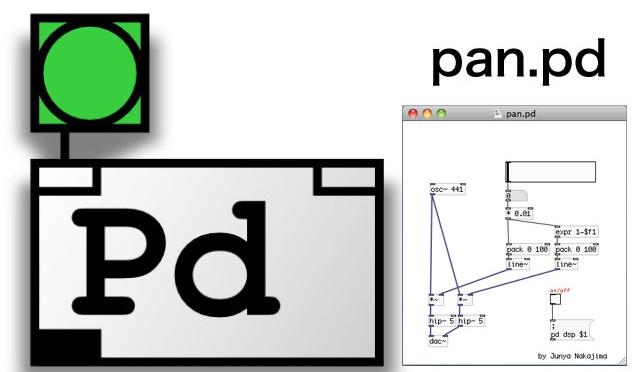 【PureData】パン用モジュール pan.pd